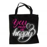 """Ostoskassi värillisellä ja heijastavalla kirjoituksellä """"You Make Me Happy"""""""