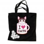 """Ostukott värvilise pildiga """"I LOVE CATS 2"""" ja helkurornamendiga"""